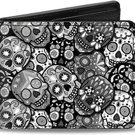 cartera Calaveras Stacked Negro
